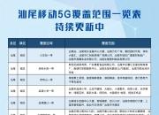 汕尾移动公布2020年中汕尾全市5G最新覆盖范围