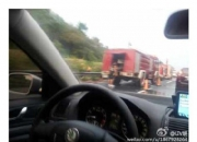 多位网友称深汕高速惠来路段有车辆起火