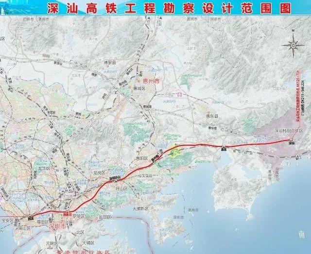 深汕高铁线路图曝光 深圳到深汕大约40分钟 深汕合作区新闻 第1张