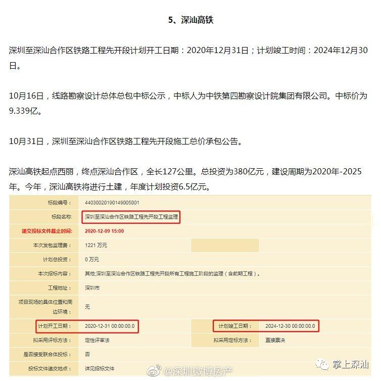 深汕高铁计划2020年12月开工 2024年竣工 深汕合作区新闻 第1张